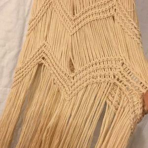 Moon River Dresses - Cream Crochet Fringe-bottom Dress